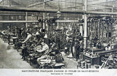 Old postcard of the French manufacture of weapons and cycles of Saint-Etienne — Stock Photo