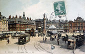 Old postcard of Lille, the great place — Stock Photo