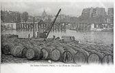 Gamla vykort över seine genom paris, bron av skvadronen — Stockfoto
