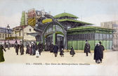 Old postcard of Paris, the station of the subway with Bastille — Stock Photo