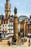 Old postcard of Lille, column commemorative of the head office of Lille — Stock Photo