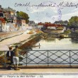 Old postcard of Nevers, sight taken of the mount Mal-Place — Stock Photo