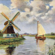 Old postcard of a windmill — Foto Stock