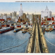 Old postcard of the bridge of Brooklyn - Stock Photo