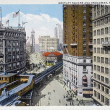 Old postcard of New York, Broadway, Greeley square - Stock Photo