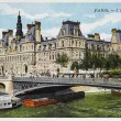 Old postcard of Paris, the town hall — Stock Photo