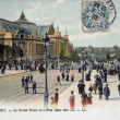 Old postcard of Paris, the large palace and the bridge Alexander III — Stock Photo