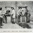 Stock Photo: Old postcard of lens, mines of Lens, minors sharpening their tools