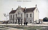 Old postcard of the Slope in the French department of the Loire, the town hall — Stock Photo