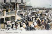 Old postcard of Trouville, the casino — Stock Photo
