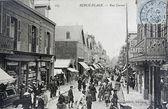 Old postcard of Berck beach, street Carnot — Stock Photo