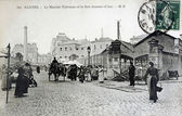 Old postcard of Nantes, the Talensac market and the street Jeanne-d'Arc — Stock fotografie