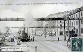 Old postcard of Nantes, warehouses of the chamber of commerce and the street of the hermitage — Stock Photo