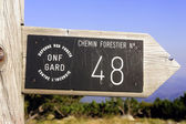 Sign a forest footpath — Stock Photo