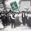 Old postcard, The village feast — Stock Photo