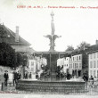 Old postcard, Cirey, monumental fountain Chevandier square — Stock Photo