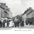 Old postcard, Crepy-en-Valois, Market Square — Stock Photo