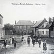 Old postcard,Thieuloy-Saint-Antoine, City Hall and School — Stock Photo