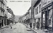 Old postcard, Blangy-sur-Bresle high street — Stock Photo