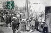 Old postcard, The Treport, quai Francois first — Stock Photo