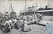 Old postcard, Dieppe, boarding passengers for england — Stock Photo