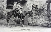 Old postcard, the couple on horseback — Stock Photo