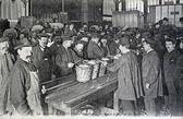 Old postcard, Paris markets, central markets — Stock Photo