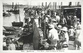 Old postcard, Quiberon, Port Maria, set sail to Belle Ile — Stock Photo