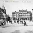 Old postcard of Neuilly-en-Thelle, market place — Stock Photo