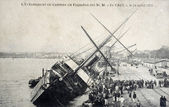 Old postcard The grounding in the ship Garonne Chile — Stock Photo