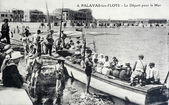 Old postcard of Palavas-les-Flots, departure for the sea — Stock Photo
