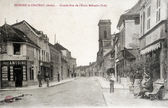 Old postcard of Brienne-le-Chateau, main street of the military — Stock Photo