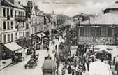 Old postcard of Troyes, perspective of the street thiers — Foto Stock