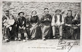 Old postcard of bath lizard farmers Creusois — ストック写真