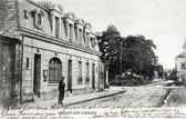 Old postcard of Nogent-les-Vierges, post office — Stok fotoğraf