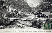 Old postcard of Saint-Sauveur, Valley Tinee, bridge of Roure — ストック写真
