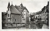 Old postcard of Annecy, Isle palace, old prison — Foto Stock