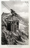 Old postcard of Plan-Praz-Brevent, cable car — Stock Photo