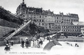 Old postcard of Biarritz, mobile ramp and casino bellevue — Stock Photo