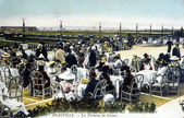 Old postcard of Deauville, the terraces of casino — Stock Photo