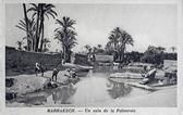 Antigo cartão postal de marrakech, num canto da palma — Fotografia Stock