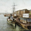 Stock Photo: Old postcard of Rouen, perspective Wharf scholarship