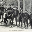 Old postcard in Alps, military skiers — Foto Stock #37332771