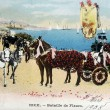Old postcard Carnival of Nice, Battle of Flowers — 图库照片 #37333271