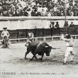Stock Photo: Old postcard bullfight
