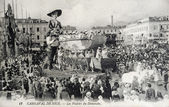 Old postcard of Nice Carnival, the pleasures of Sunday — Stock Photo