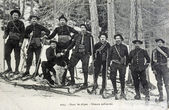 Old postcard in the Alps, military skiers — Stock Photo