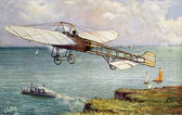 Old postcard airplane in flight for the Manche crossing — Zdjęcie stockowe