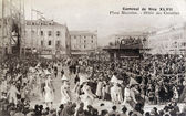 Old postcard Carnival of Nice, parade of Cocottes — Stock Photo
