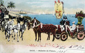 Old postcard Carnival of Nice, Battle of Flowers — Zdjęcie stockowe